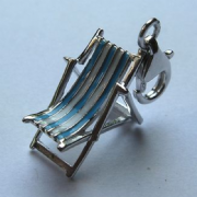 Sterling Silver Clip-on Enamelled Deck Chair Charm